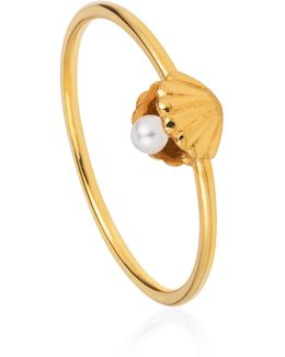 Shell & Pearl Ring Gold Vermeil