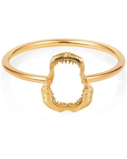 Mini Shark Jawbone Ring Gold Vermeil