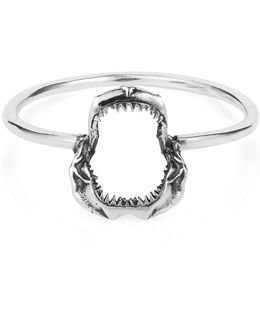 Mini Shark Jawbone Ring Silver
