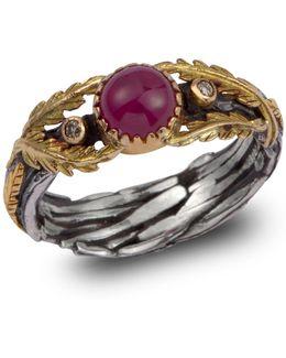 Lattice Ruby & Diamond Gold Ring