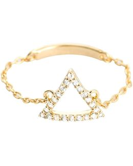Tuxedo Triangle Chain Ring In Gold
