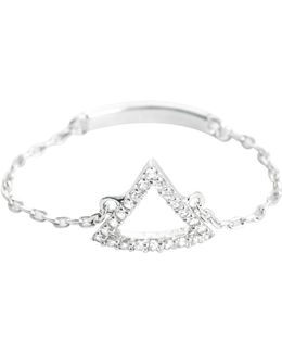 Tuxedo Triangle Chain Ring In Silver