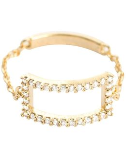 Tuxedo Rectangle Chain Ring Gold