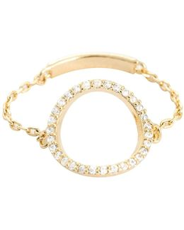 Tuxedo Circle Chain Ring Gold
