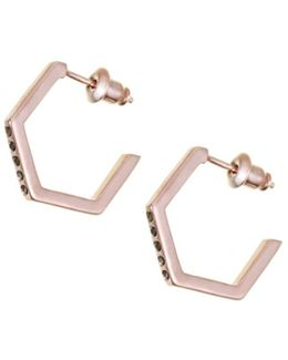 Crystallised Hexagon Hoops Rose Gold