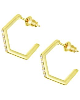 Crystallised Hexagon Hoops Gold