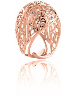 Shikhara Rose Gold Dome Ring Clear Cz