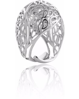 Shikhara Silver Dome Ring Clear Cz