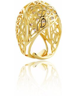 Shikhara Gold Dome Ring Clear Cz