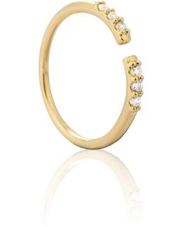 Caught In The Middle Triple Diamante Ring In Gold
