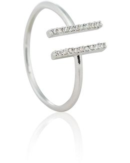 Chase Me Double Bar Ring In Silver