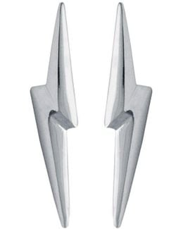 3d Pointed Lightning Bolt Earrings Silver