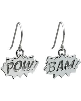 Pow And Bam Drop Earrings In Silver