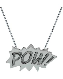 Pow Pendant Large Long In Silver