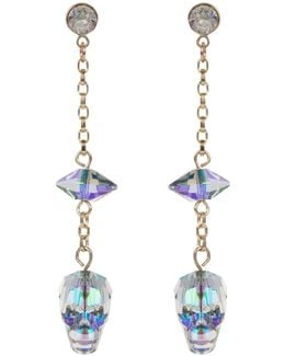 Glass Skull & Spike Earrings Crystal Paradise