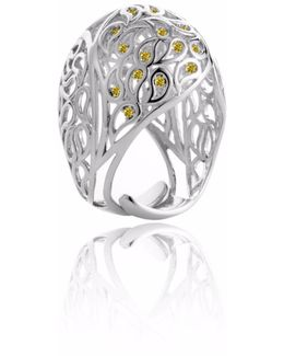 Shikhara Dome Ring Silver Yellow Cz