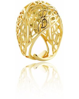 Shikhara Gold Dome Ring Yellow Cz