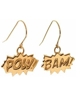 Pow And Bam Drop Earrings In Gold