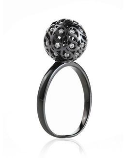 Svar Ruthenium Sphere Ring Clear Cz