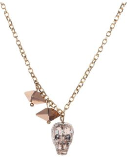 Crystal Skull & Double Spike Necklace Gold Patina