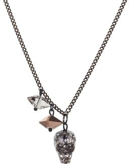Crystal Skull & Double Spike Necklace Black Patina