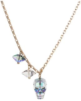 Crystal Skull & Double Spike Necklace Crystal Paradise