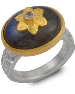 Byzantine Star Labradorite & Moonstone Ring