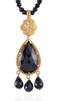 Opium Black Spinel And Moonstone Pendant