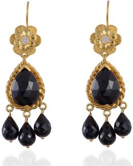 Opium Black Spinel Chandelier Earrings