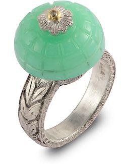 Samsara Carved Chrysoprase And Diamond Ring