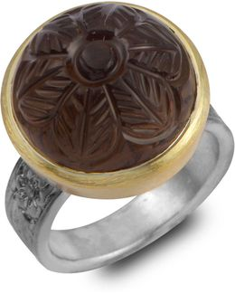 Samsara Carved Smokey Topaz Ring