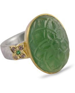 Samsara Carved Tsavorite & Diamond Ring