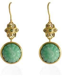 Samsara Carved Chrysoprase & Diamond Earrings