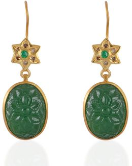Samsara Diamond & Tsavorite Carved Earrings