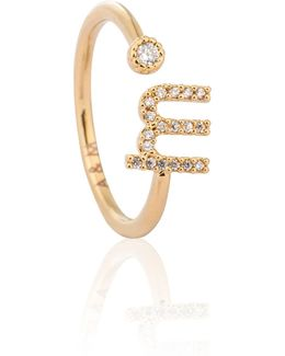 Gold Initial M Ring