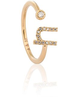 Gold Initial N Ring