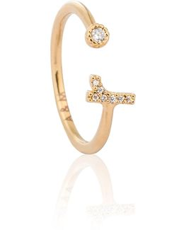 Gold Initial R Ring