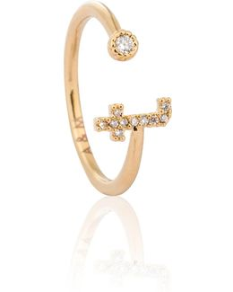 Gold Initial T Ring