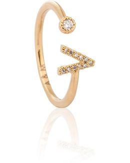 Gold Initial V Ring