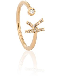 Gold Initial K Ring