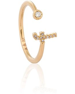 Gold Initial F Ring