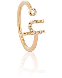 Gold Initial H Ring