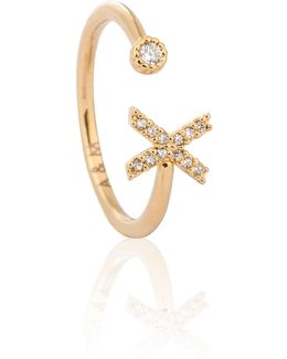 Gold Initial X Ring