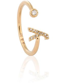 Gold Initial Y Ring