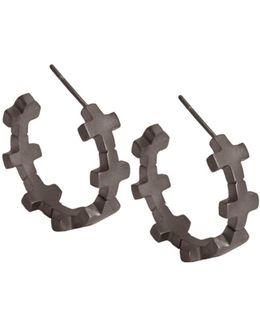 Hoop Earrings Matte Black Rhodium