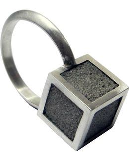 Silver And Concrete Cube Ring