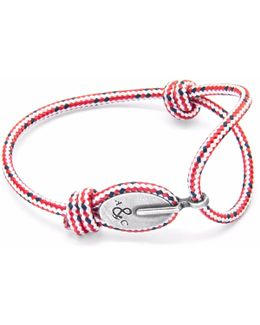 Red Dash London Silver & Rope Bracelet