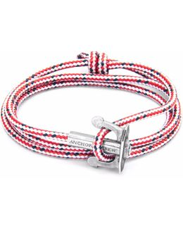 Red Dash Union Silver & Rope Bracelet
