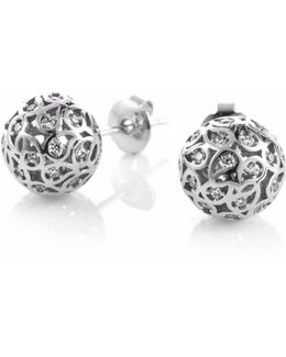 Svar Silver Stud Earrings Clear Cz