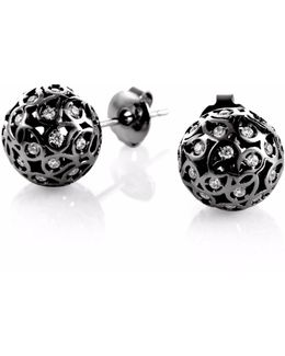Svar Ruthenium Stud Earrings Clear Cz